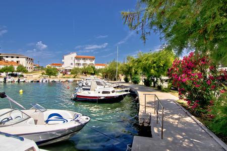 Harbor of adriatic village Petrcane, Dalmatia, Croatia