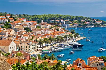 Yachting waterfront of Hvar island in Dalmatia, Croatia photo