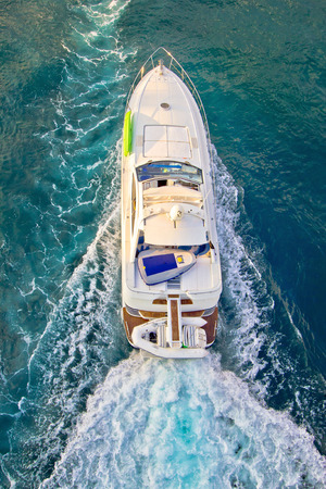 Yacht on the sea aerial vertical view