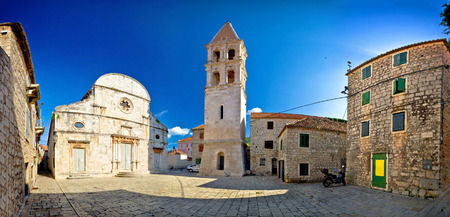 starigrad: Stari Grad, island of Hvar old stone square panoramic view, Dalmatia, Croatia