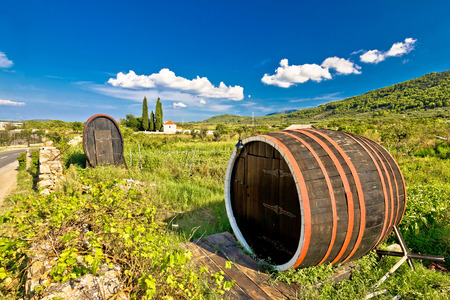 starigrad: Wine barrels on Stari Grad plain, UNESCO world heritage site in Hvar island, Dalmatia, Croatia Stock Photo