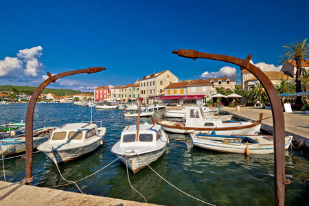 starigrad: Old harbor view of Stari Grad on Hvar island, Dalmatia, Croatia