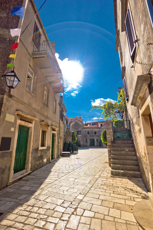 starigrad: Stari grad on Hvar island old stone square view, Dalmatia, Croatia Stock Photo
