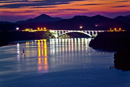 Sibenik bay bridge dusk view, Dalmatia, Croatia photo