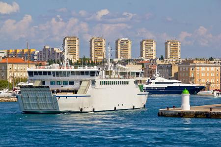 Zadar ferry and yacht harbor view, Dalmatia, Croatia