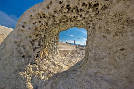 Split cathedral tower in sea stone hole, Dalmatia, Croatia photo