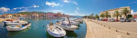 starigrad: Stari Grad on island of Hvar waterfront panoramic view, Dalmatia, Croatia