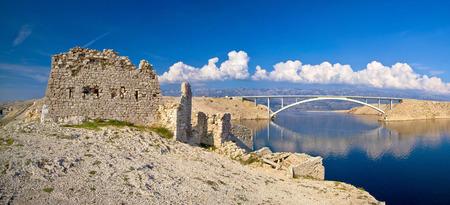 Island of Pag old desert ruins and bridge panorama view, Dalmatia, Croatia photo