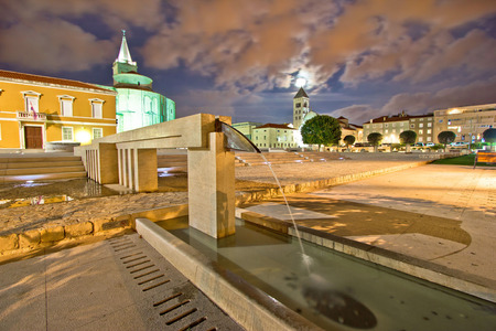 Old Zadar forum fountain night view, Dalmatia, Croatia Reklamní fotografie