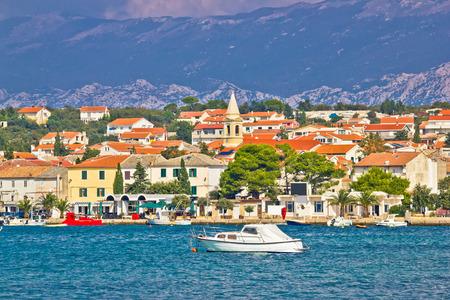 Town of Novalja on Pag island waterfront view, Dalmatia, Croatia Standard-Bild