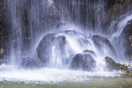 wild silky white: Plitvice lakes national park detail, water forming geology Stock Photo
