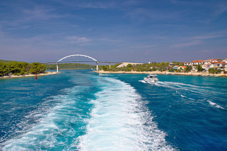 Zdrelac bridge connecting Ugljan and Pasman islands in Croatia Stock Photo