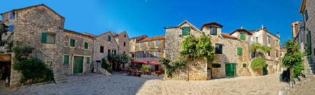 starigrad: Old Hvar island stone town of Stari Grad, panoramic view, Croatia
