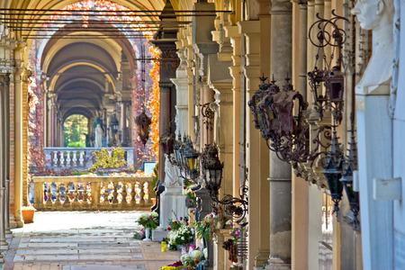 Zagreb mirogoj cemetary arcades view, capital of Croatia
