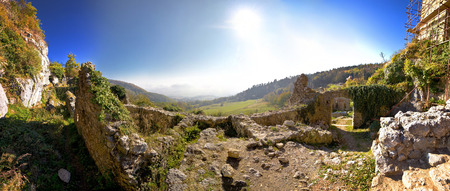 kalnik: Old Kalnik mountain fortress ruins panoramic view, Prigorje, Croatia Stock Photo