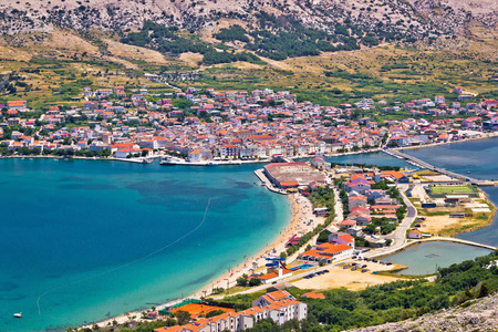Pag island bay aerial view, Dalmatia, Croatia Standard-Bild