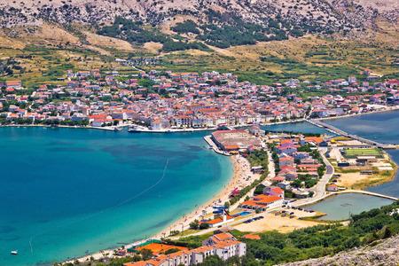 Pag island bay aerial view, Dalmatia, Croatia Stock Photo