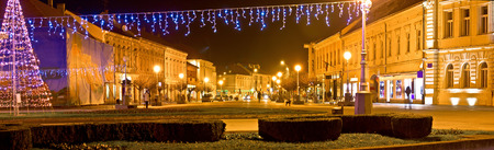 Town of Koprivnica Christmas panorama, Podravina region, Croatia photo