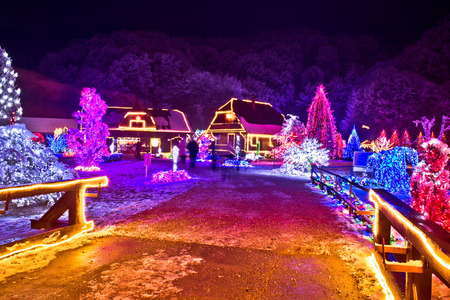 Village in colorful christmas lights, old architecture and nature