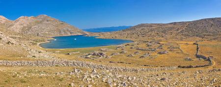 yachting: Island of Krk yachting bay safe harbour in stone desert, Croatia