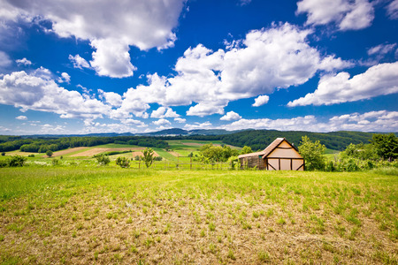 Cottage in idyllic agricultural landscape of Prigorje region in Croatia