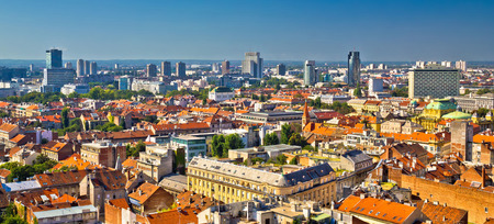 Zagreb aerial skyline rooftops view, capital of Croatia panoramic view