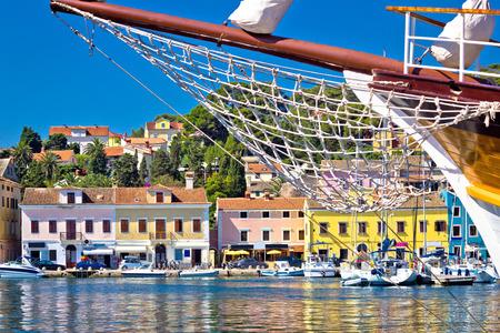 prow: Colorful waterfront of Island Losinj in Croatia Stock Photo