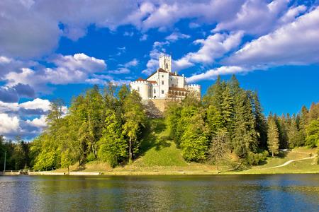 Odyllic lake hill castle of Trakoscan in Zagorje, Croatia