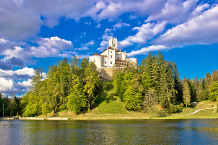Odyllic lake hill castle of Trakoscan in Zagorje, Croatia