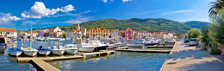 starigrad: Stari Grad on Hvar island panoramic view, Dalmatia, Croatia