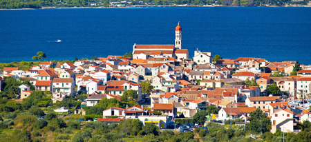 betina: Mediterranean village Betina on the hill by the sea, Island of Murter, Croatia Stock Photo