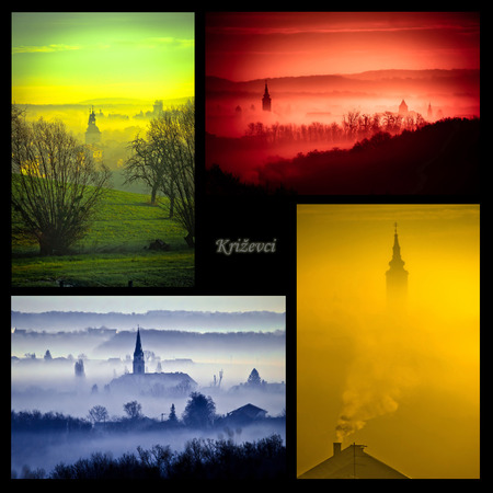 scarry: Town of Krizevci in morning, four colors collage, Prigorje region of Croatia