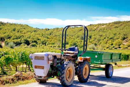 krk: Small tractoe by the mediterranean vineyard, Krk island, Croatia