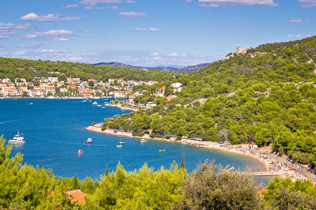 murter: Tisno bay view, Island of Murter, Dalmatia Stock Photo