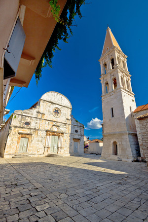 starigrad: Stari Grad on Hvar island church square view, Dalmatia, Croatia