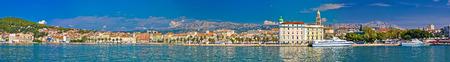 aerial view: Split waterfront megapanoramic summer view, Dalmatia, Croatia