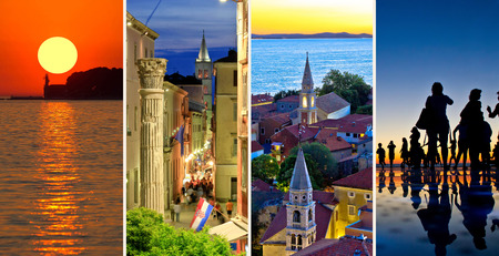 travel collage: Town of Zadar evening and sunset travel collage, Dalmatia, Croatia