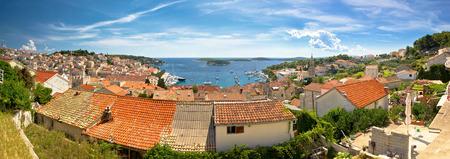 dalmatia: Town of Hvar old rooftops panorama, island in Dalmatia, Croatia