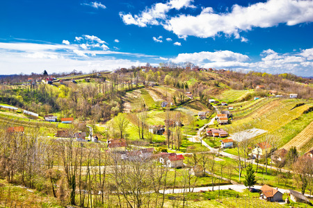kalnik: Zagorje region green vineyard hills aerial view, Croatia Stock Photo