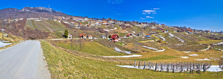 kalnik: Kalnik mountain vineyards and cottages panorama, Prigorje, Croatia Stock Photo