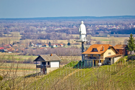 kalnik: Saint vinko lookout tower and statue near town of Ludbreg, Croatia