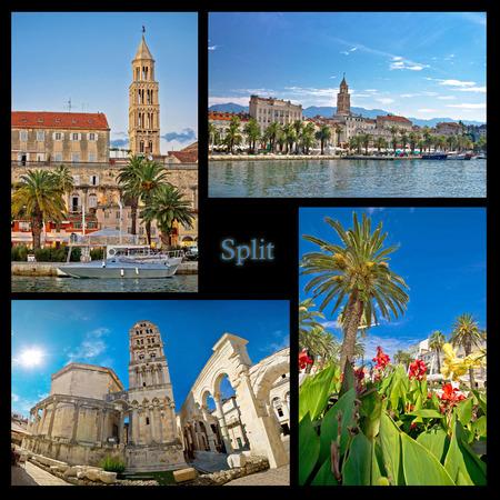 City of Split nature and architecture collage of Dalmatia, Croatia photo