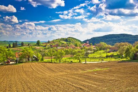 Idyllic Prigorje mountain village of Apatovec, Kalnik mountain, Croatia Editorial