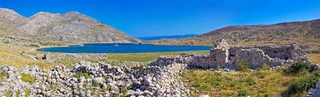 krk: Island of Krk yachting bay panorama with historic stone ruins, Mala luka, Croatia Stock Photo