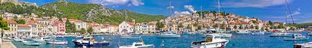 Hvar yachting harbor and historic architecture panoramic view, Dalmatia, Croatia