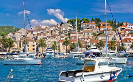 Hvar waterfront sailing harbor in Dalmatia, Croatia