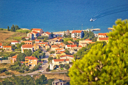 Coastal village Dobropoljana on Island of Pasman aerial view, Dalmatia, Croatia Stock Photo
