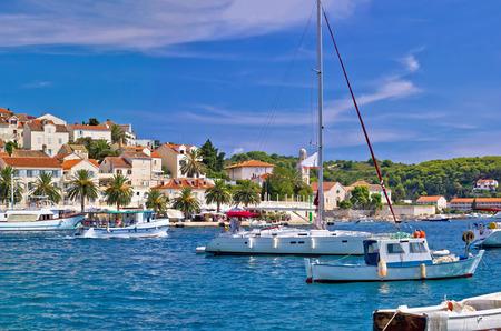 Yachting harbor of Hvar island waterfront view, Dalmatia, Croatia