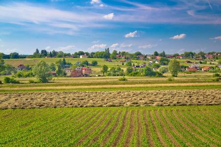 Village of Majurec in green landscape, Prigorje region of Croatia