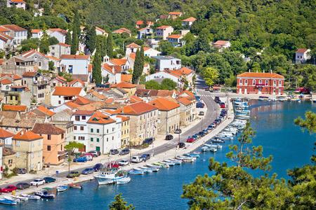 Novigrad Dalmatinski aerial waterfront view, Dalmatia, Croatia